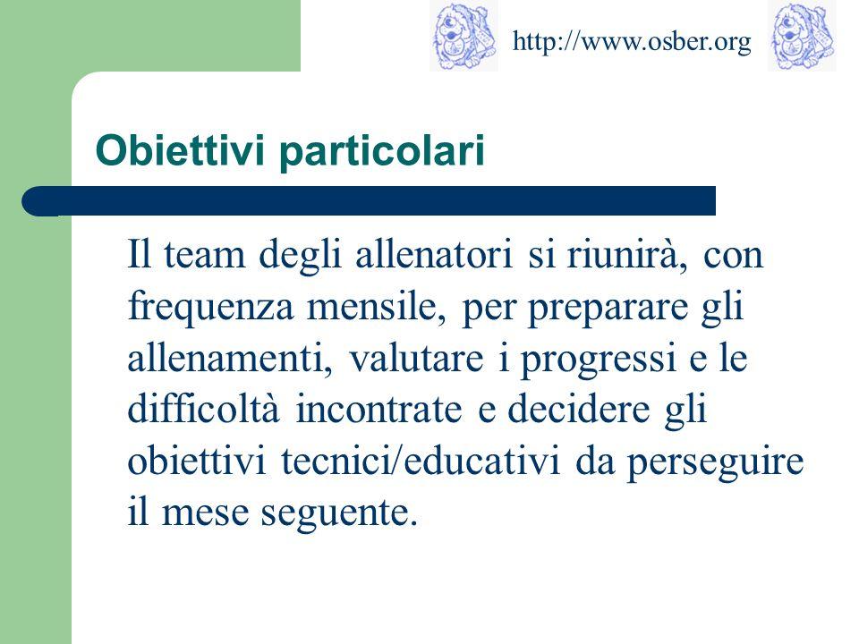 http://www.osber.org Obiettivi tecnici Tre aspetti importanti: 1. Crescita delle abilità motorie delle atlete (capacità coordinative, forza, resistenz
