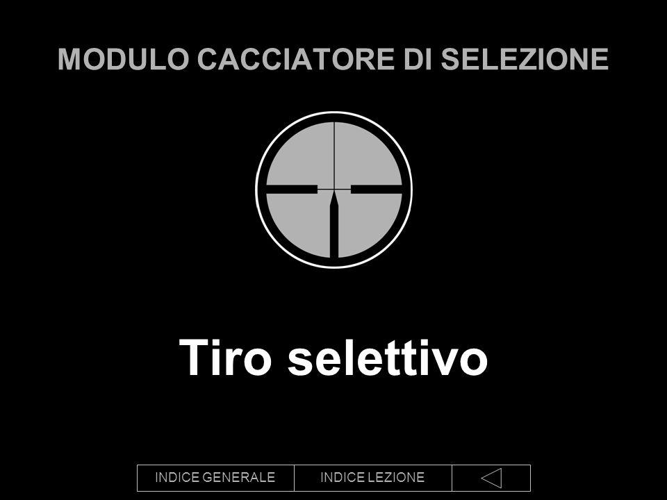 INDICE GENERALEINDICE LEZIONE Tiro selettivo MODULO CACCIATORE DI SELEZIONE