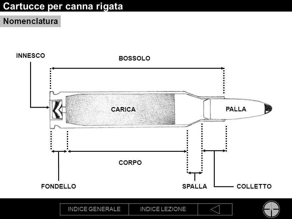 INDICE GENERALEINDICE LEZIONE Cartucce per canna rigata Nomenclatura PALLA SPALLA CORPO BOSSOLO COLLETTOFONDELLO CARICA INNESCO