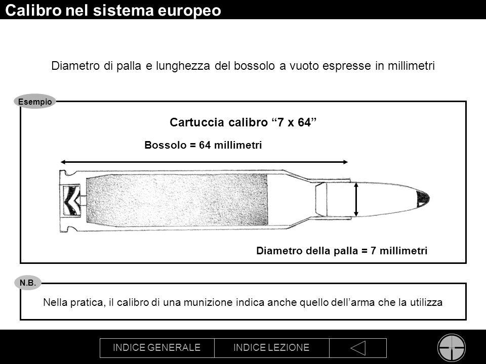 INDICE GENERALEINDICE LEZIONE Calibro nel sistema europeo Diametro di palla e lunghezza del bossolo a vuoto espresse in millimetri Bossolo = 64 millim