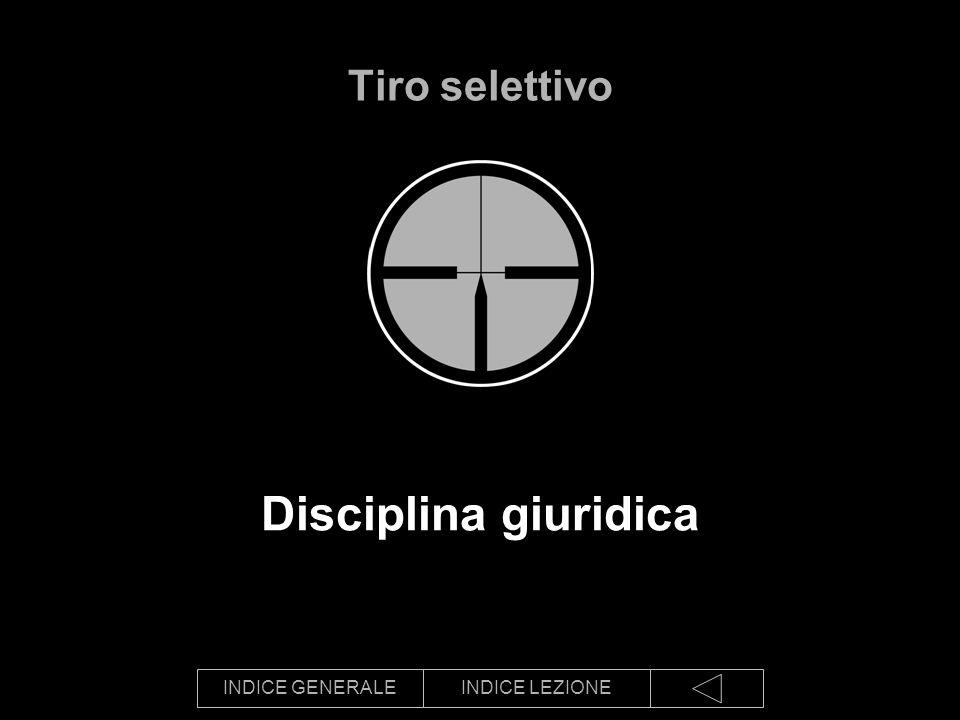 INDICE GENERALEINDICE LEZIONE Disciplina giuridica Tiro selettivo