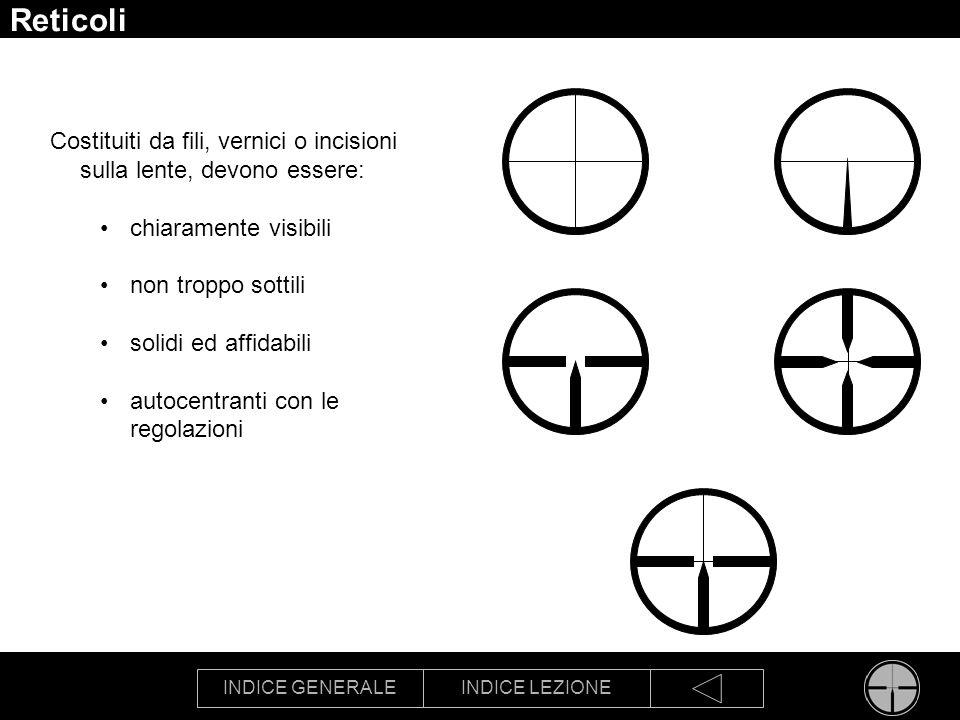 INDICE GENERALEINDICE LEZIONE Reticoli Costituiti da fili, vernici o incisioni sulla lente, devono essere: chiaramente visibili non troppo sottili sol