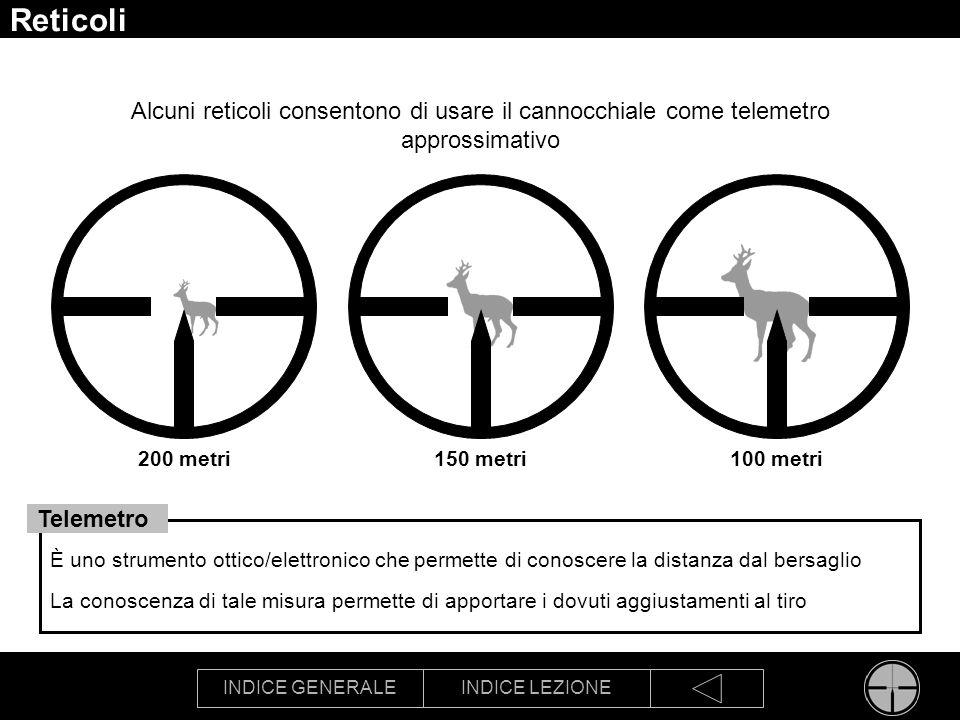 INDICE GENERALEINDICE LEZIONE Reticoli Alcuni reticoli consentono di usare il cannocchiale come telemetro approssimativo 200 metri100 metri150 metri È