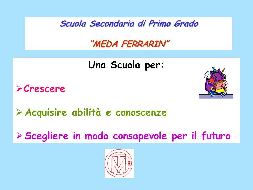 Scuola Secondaria di Primo Grado MEDA FERRARIN Una Scuola per: Crescere Acquisire abilità e conoscenze Scegliere in modo consapevole per il futuro