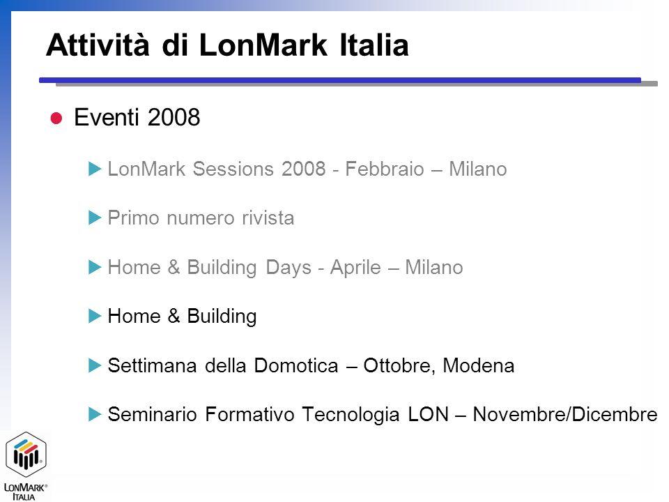 La Struttura di LonMark Italia l Struttura semplice e snella Un Consiglio Direttivo Gruppi di Lavoro Segreteria l Affiliato a LonMark International per lItalia