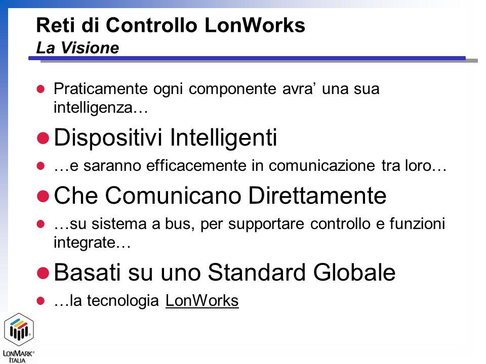 Reti di Controllo LonWorks La Visione l Praticamente ogni componente avra una sua intelligenza… l Dispositivi Intelligenti l …e saranno efficacemente in comunicazione tra loro… l Che Comunicano Direttamente l …su sistema a bus, per supportare controllo e funzioni integrate… l Basati su uno Standard Globale l …la tecnologia LonWorks