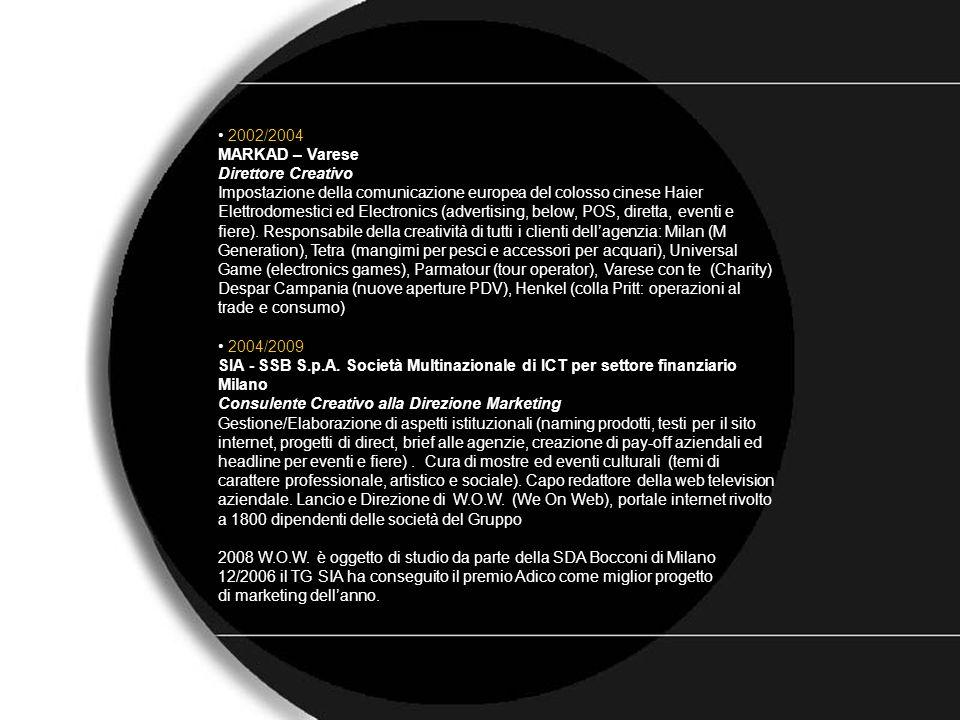 C.V. 2002/2004 MARKAD – Varese Direttore Creativo Impostazione della comunicazione europea del colosso cinese Haier Elettrodomestici ed Electronics (a