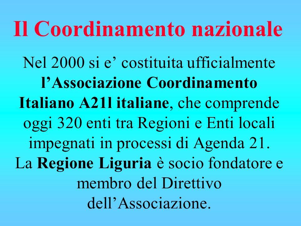 Nel 2000 si e costituita ufficialmente lAssociazione Coordinamento Italiano A21l italiane, che comprende oggi 320 enti tra Regioni e Enti locali impeg