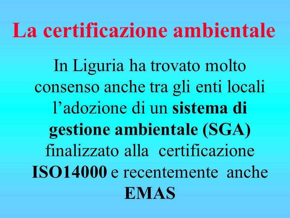 In Liguria ha trovato molto consenso anche tra gli enti locali ladozione di un sistema di gestione ambientale (SGA) finalizzato alla certificazione ISO14000 e recentemente anche EMAS La certificazione ambientale