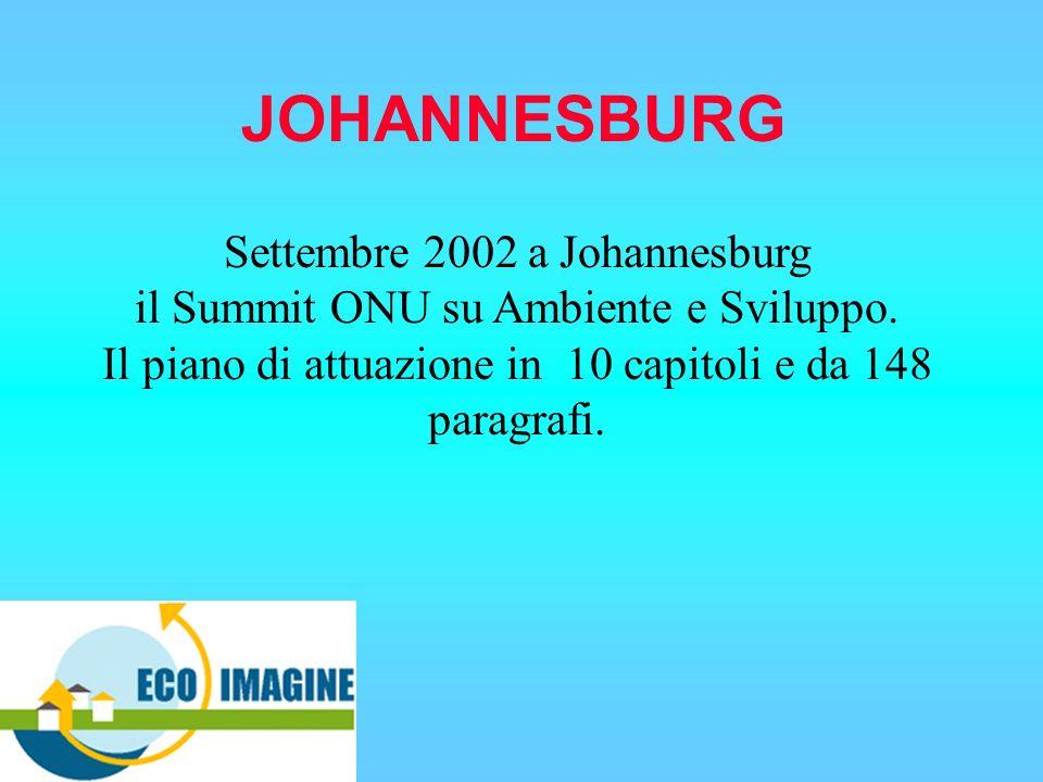 JOHANNESBURG Settembre 2002 a Johannesburg il Summit ONU su Ambiente e Sviluppo. Il piano di attuazione in 10 capitoli e da 148 paragrafi.
