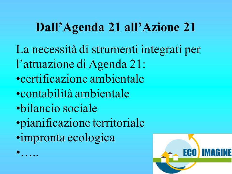 DallAgenda 21 allAzione 21 La necessità di strumenti integrati per lattuazione di Agenda 21: certificazione ambientale contabilità ambientale bilancio