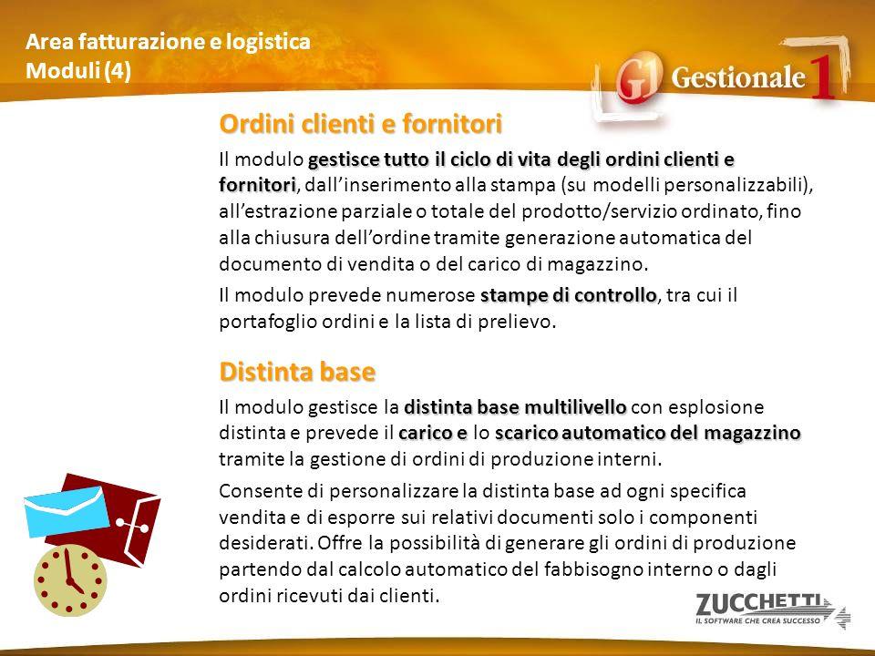 Area fatturazione e logistica Moduli (4) Ordini clienti e fornitori gestisce tutto il ciclo di vita degli ordini clienti e fornitori Il modulo gestisc