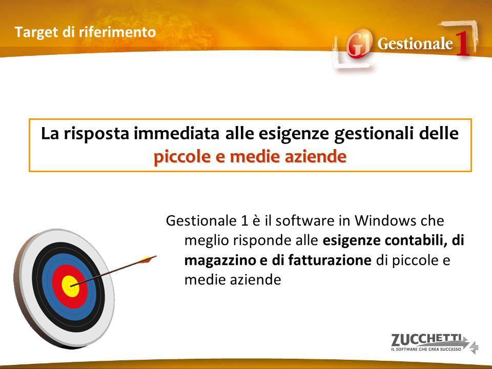 Target di riferimento Gestionale 1 è il software in Windows che meglio risponde alle esigenze contabili, di magazzino e di fatturazione di piccole e m