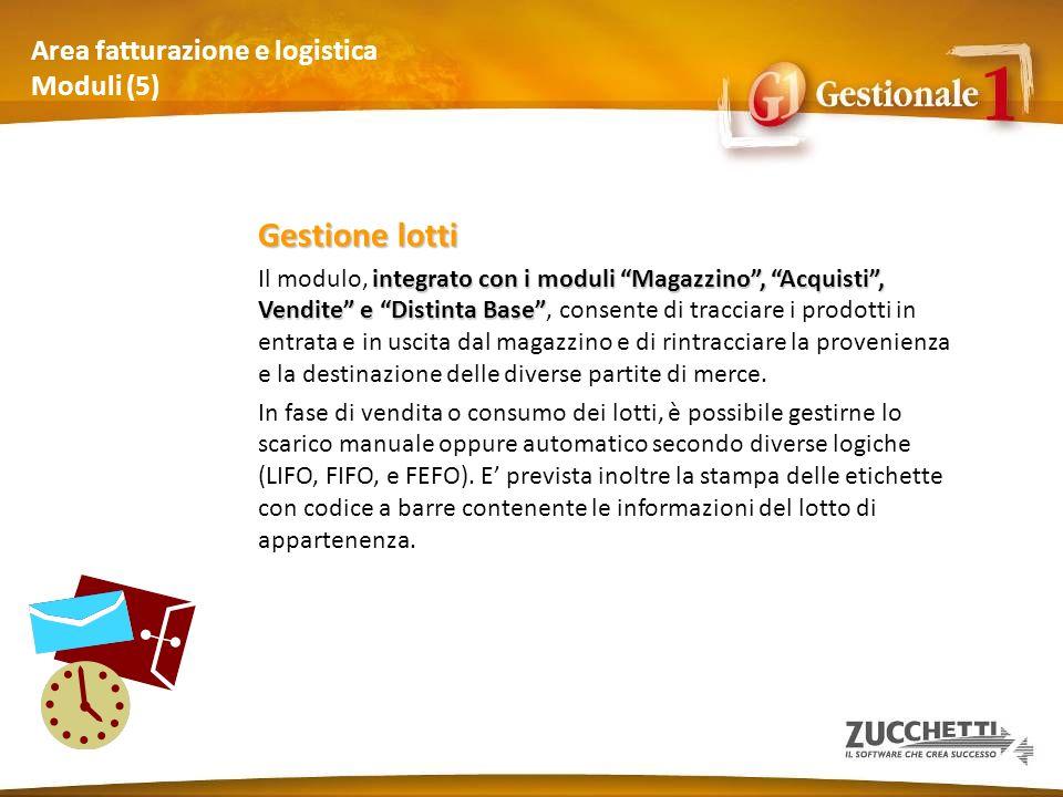 Area fatturazione e logistica Moduli (5) Gestione lotti integrato con i moduli Magazzino, Acquisti, Vendite e Distinta Base Il modulo, integrato con i