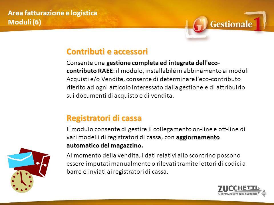 Area fatturazione e logistica Moduli (6) Contributi e accessori gestione completa ed integrata dell'eco- contributo RAEE Consente una gestione complet