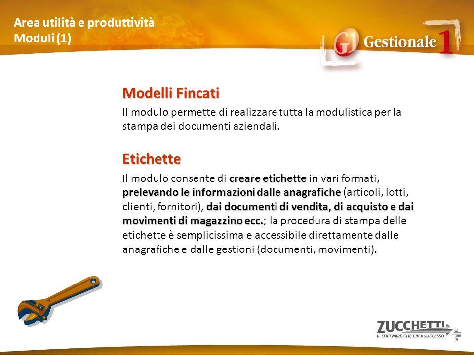 Area utilità e produttività Moduli (1) Modelli Fincati Il modulo permette di realizzare tutta la modulistica per la stampa dei documenti aziendali. Et
