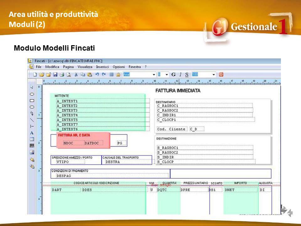 Area utilità e produttività Moduli (2) Modulo Modelli Fincati