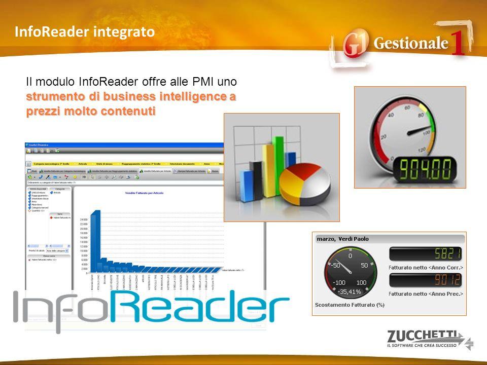 InfoReader integrato strumento di business intelligence a prezzi molto contenuti Il modulo InfoReader offre alle PMI uno strumento di business intelli