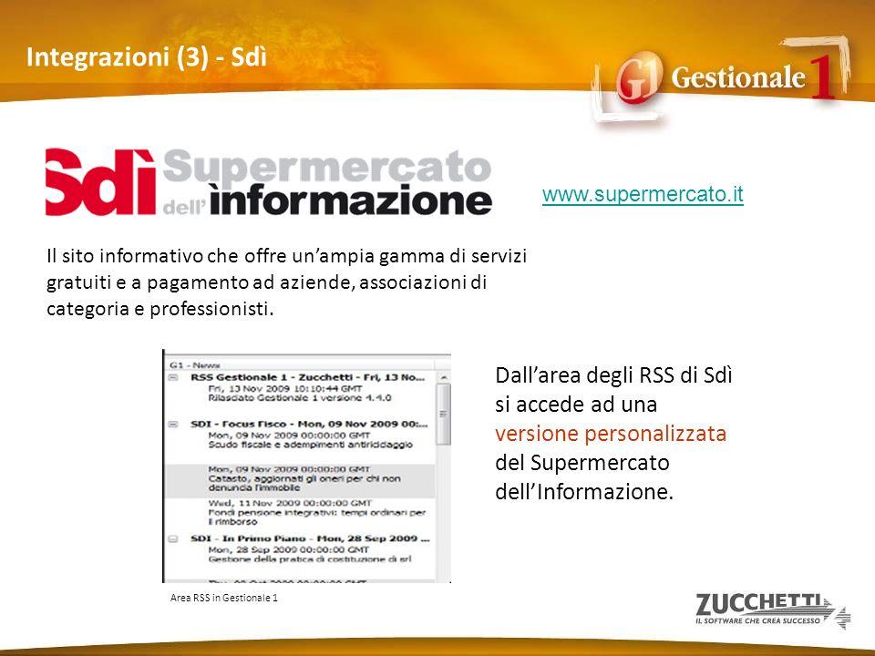 Integrazioni (3) - Sdì Il sito informativo che offre unampia gamma di servizi gratuiti e a pagamento ad aziende, associazioni di categoria e professio
