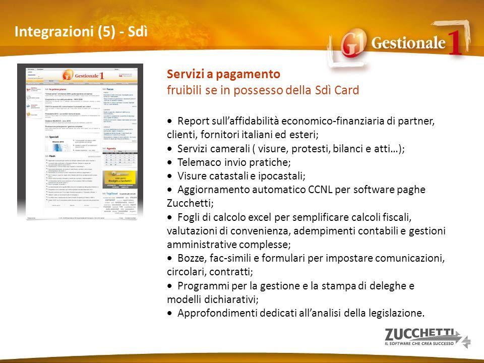 Integrazioni (5) - Sdì Servizi a pagamento fruibili se in possesso della Sdì Card Report sullaffidabilità economico-finanziaria di partner, clienti, f