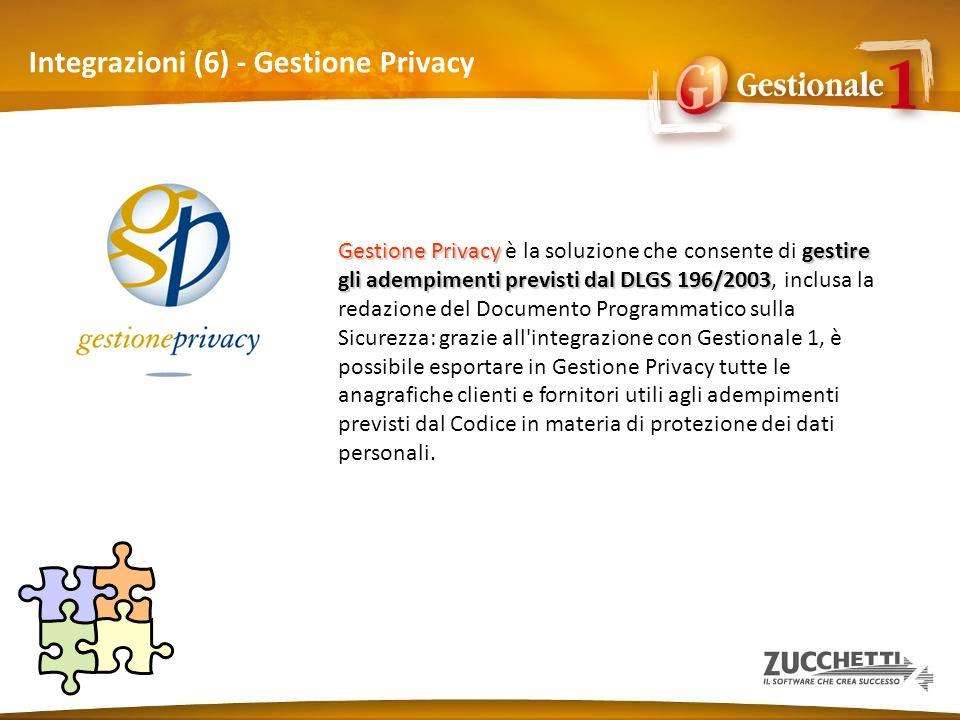 Integrazioni (6) - Gestione Privacy Gestione Privacygestire gli adempimenti previsti dal DLGS 196/2003 Gestione Privacy è la soluzione che consente di