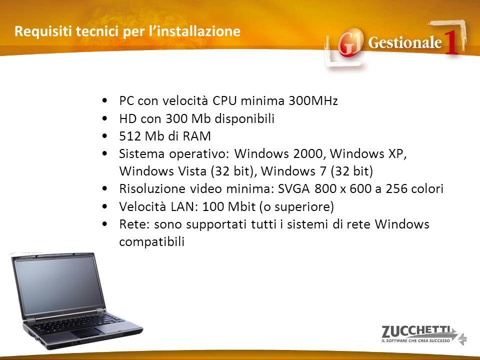Requisiti tecnici per linstallazione PC con velocità CPU minima 300MHz HD con 300 Mb disponibili 512 Mb di RAM Sistema operativo: Windows 2000, Window