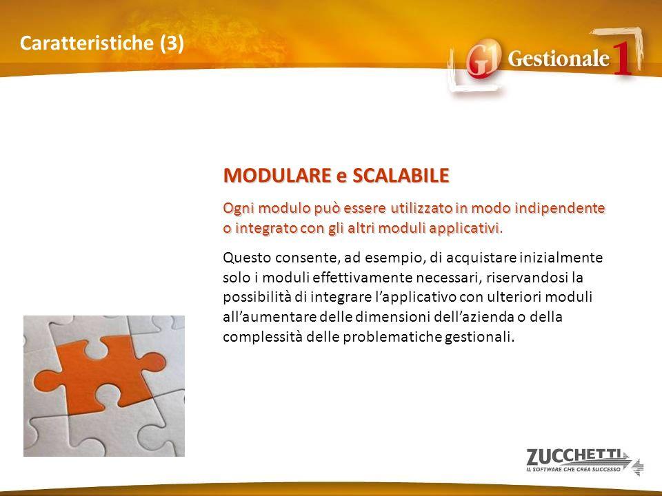 Caratteristiche (3) MODULARE e SCALABILE Ogni modulo può essere utilizzato in modo indipendente o integrato con gli altri moduli applicativi Ogni modu