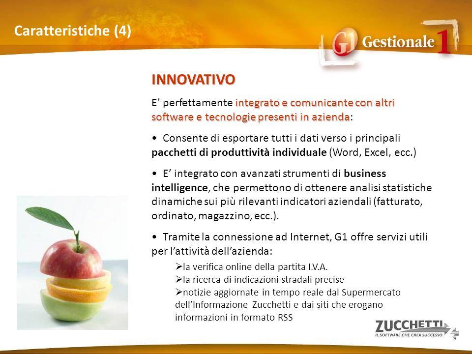 Caratteristiche (4) INNOVATIVO integrato e comunicante con altri software e tecnologie presenti in azienda E perfettamente integrato e comunicante con