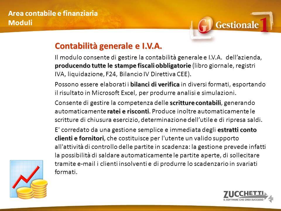 Area contabile e finanziaria Moduli (1) Modulo Contabilità generale e I.V.A.
