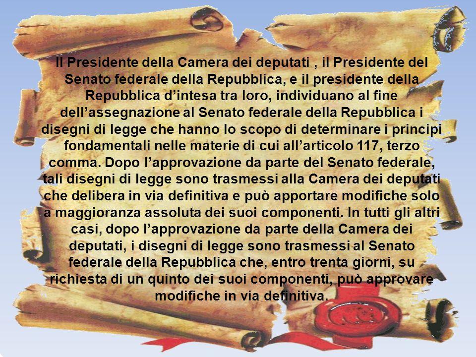 Il Presidente della Camera dei deputati, il Presidente del Senato federale della Repubblica, e il presidente della Repubblica dintesa tra loro, indivi