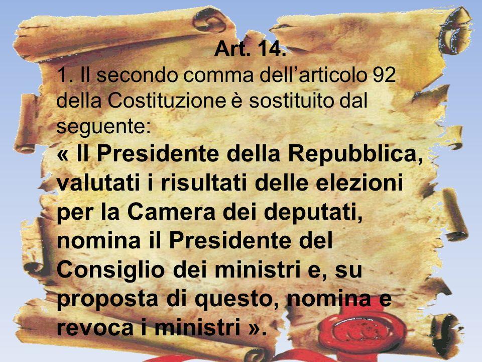 Art. 14. 1. Il secondo comma dellarticolo 92 della Costituzione è sostituito dal seguente: « Il Presidente della Repubblica, valutati i risultati dell