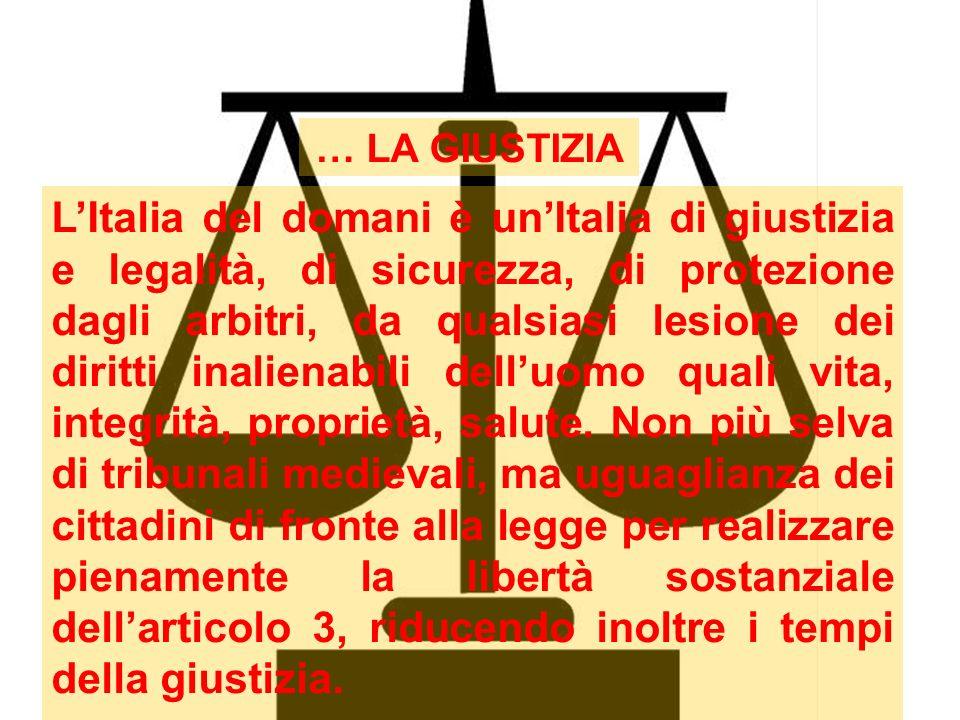 LItalia del domani è unItalia di giustizia e legalità, di sicurezza, di protezione dagli arbitri, da qualsiasi lesione dei diritti inalienabili delluo