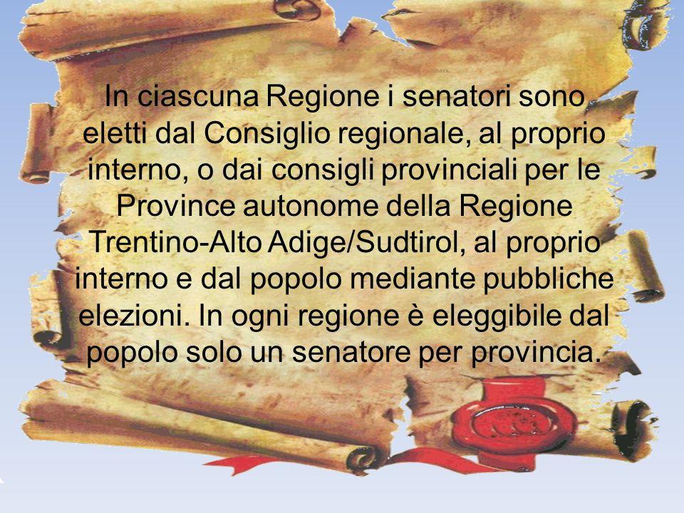 In ciascuna Regione i senatori sono eletti dal Consiglio regionale, al proprio interno, o dai consigli provinciali per le Province autonome della Regi