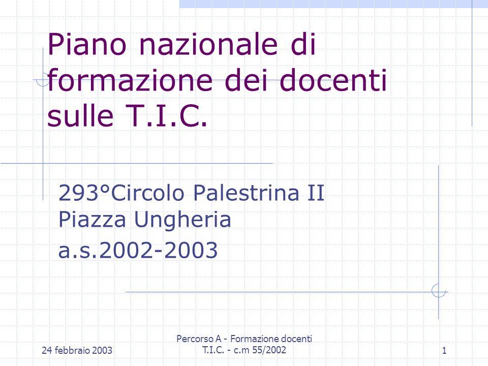 24 febbraio 2003 Percorso A - Formazione docenti T.I.C.