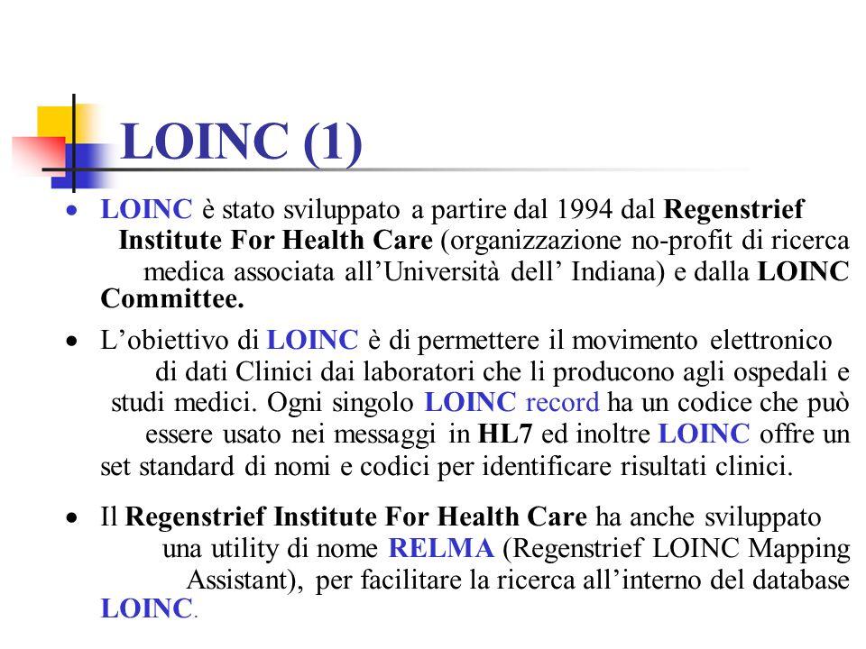LOINC è stato sviluppato a partire dal 1994 dal Regenstrief Institute For Health Care (organizzazione no-profit di ricerca medica associata allUnivers