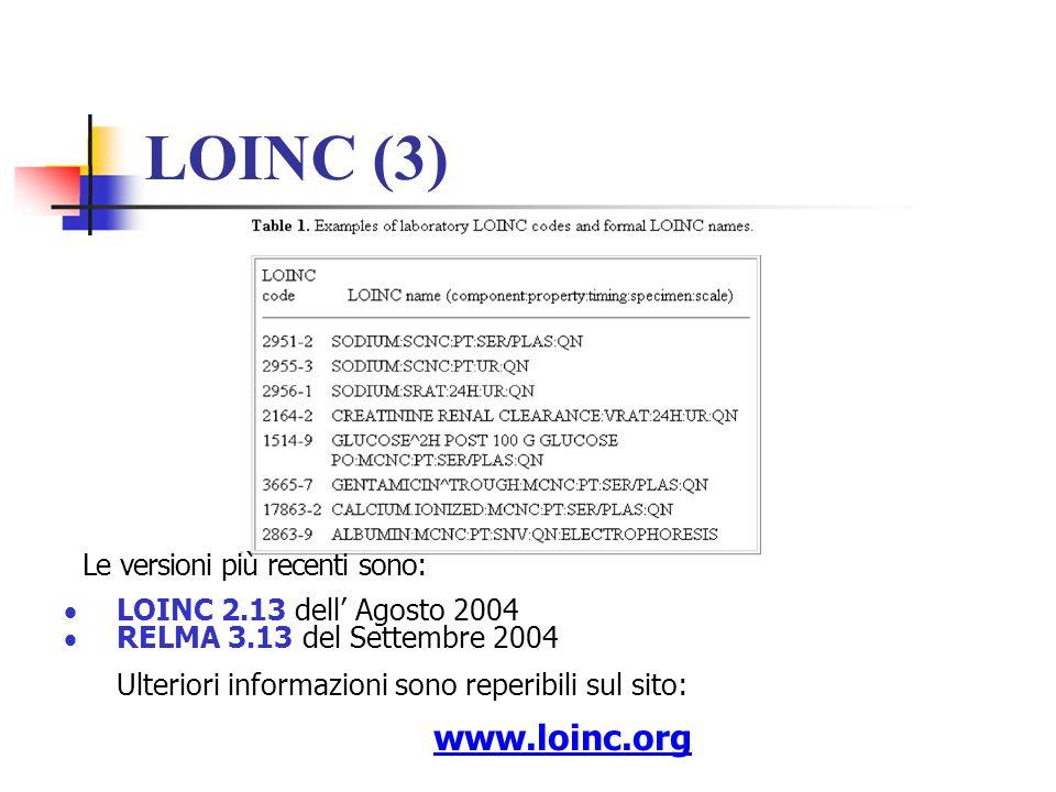 LOINC (3) Le versioni più recenti sono: LOINC 2.13 dell Agosto 2004 RELMA 3.13 del Settembre 2004 Ulteriori informazioni sono reperibili sul sito: www