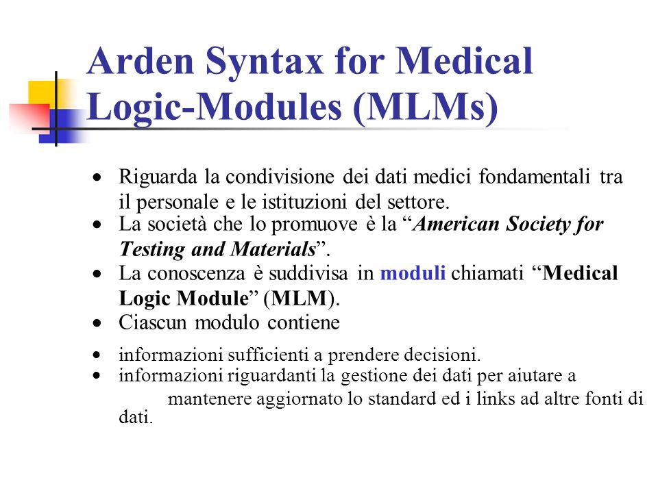Arden Syntax for Medical Logic-Modules (MLMs) Riguarda la condivisione dei dati medici fondamentali tra il personale e le istituzioni del settore. La