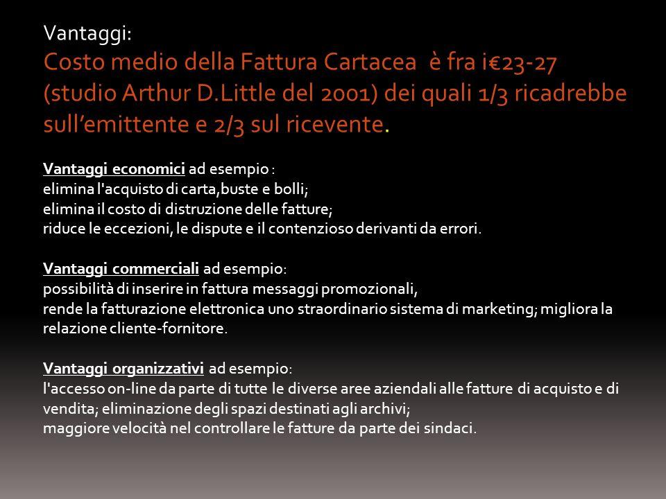 Vantaggi: Costo medio della Fattura Cartacea è fra i23-27 (studio Arthur D.Little del 2001) dei quali 1/3 ricadrebbe sullemittente e 2/3 sul ricevente.