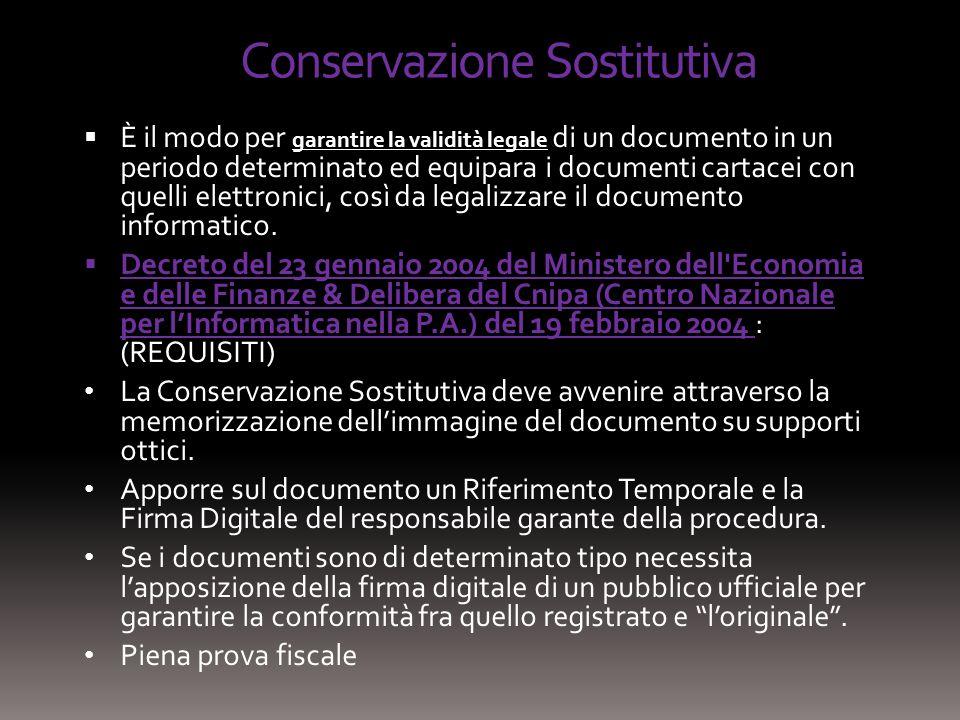 Conservazione Sostitutiva È il modo per garantire la validità legale di un documento in un periodo determinato ed equipara i documenti cartacei con qu
