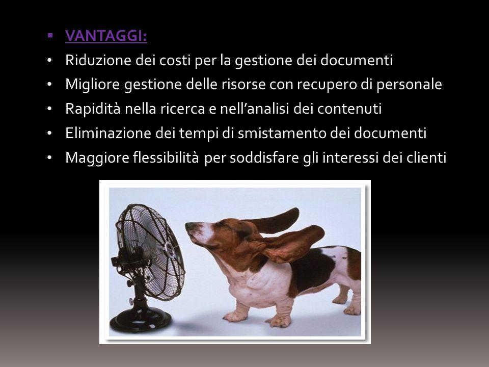 VANTAGGI: Riduzione dei costi per la gestione dei documenti Migliore gestione delle risorse con recupero di personale Rapidità nella ricerca e nellana