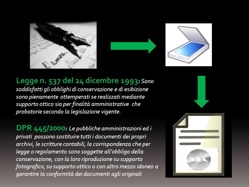 Legge n. 537 del 24 dicembre 1993 : Sono soddisfatti gli obblighi di conservazione e di esibizione sono pienamente ottemperati se realizzati mediante