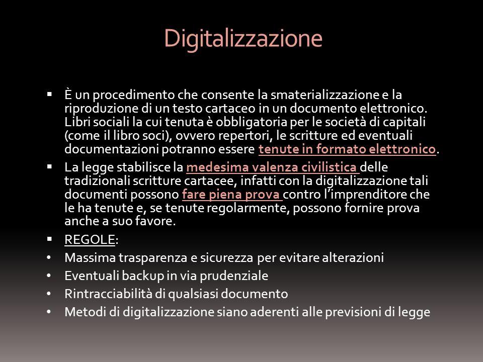 Digitalizzazione È un procedimento che consente la smaterializzazione e la riproduzione di un testo cartaceo in un documento elettronico.