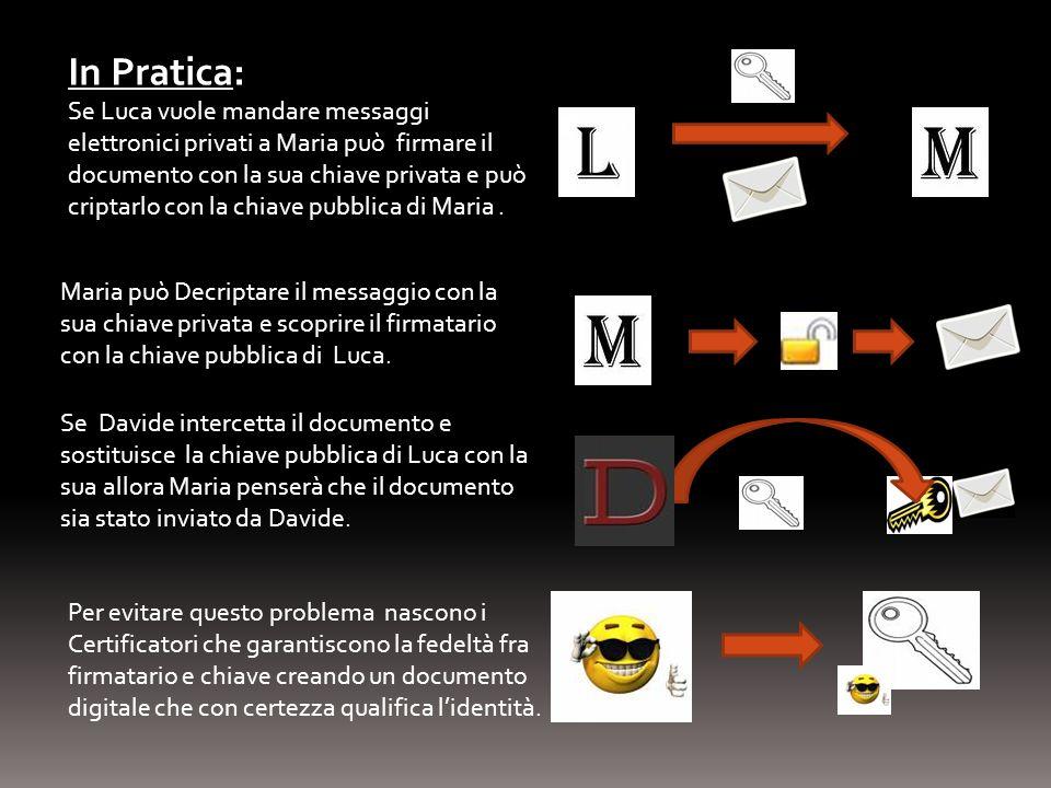In Pratica: Se Luca vuole mandare messaggi elettronici privati a Maria può firmare il documento con la sua chiave privata e può criptarlo con la chiav