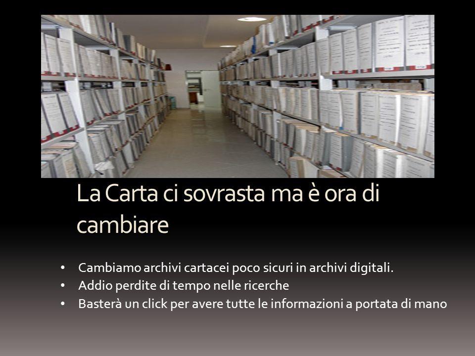 La Carta ci sovrasta ma è ora di cambiare Cambiamo archivi cartacei poco sicuri in archivi digitali. Addio perdite di tempo nelle ricerche Basterà un