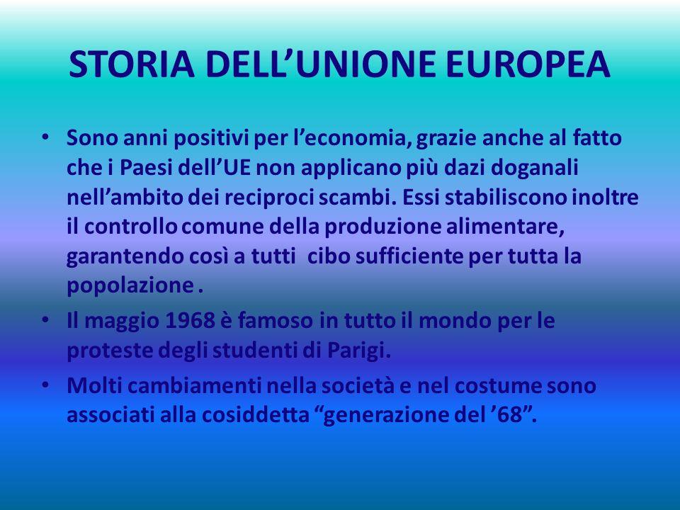 STORIA DELLUNIONE EUROPEA 1960 - 1969 I BRILLANTI ANNI SESSANTA : UN DECENNIO DI CRESCITA ECONOMICA Negli anni Sessanta si assiste alla nascita di una