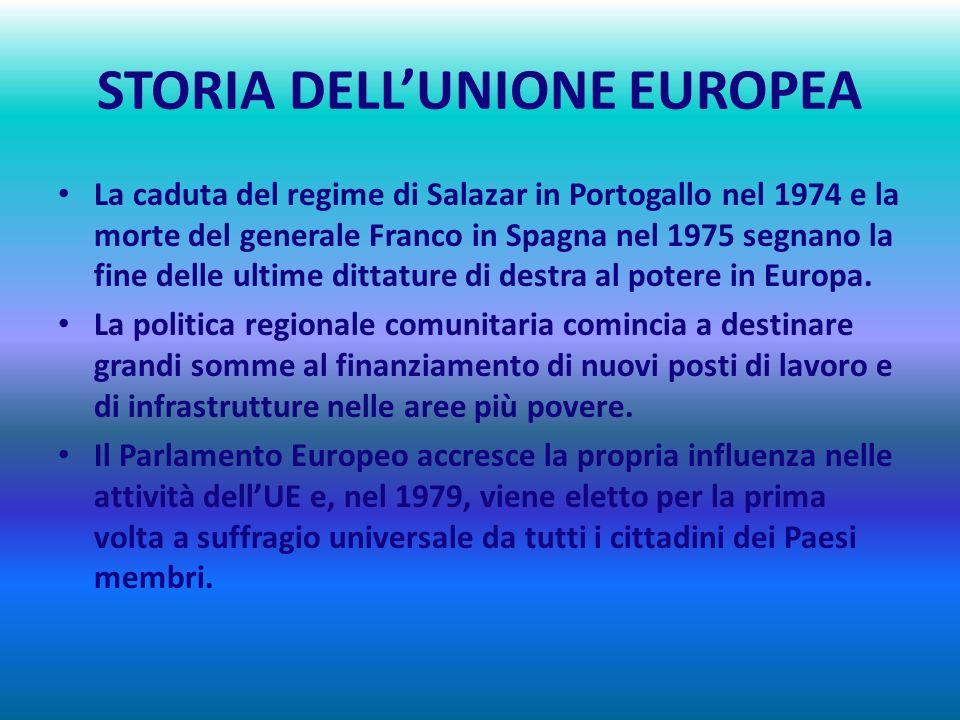STORIA DELLUNIONE EUROPEA 1970 – 1979 UNA COMUNITÀ IN CRESCITA : IL PRIMO ALLARGAMENTO Con ladesione della Danimarca, dellIrlanda e del Regno Unito il