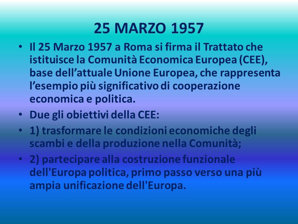 25 MARZO 1957 Il 25 Marzo 1957 a Roma si firma il Trattato che istituisce la Comunità Economica Europea (CEE), base dellattuale Unione Europea, che rappresenta lesempio più significativo di cooperazione economica e politica.