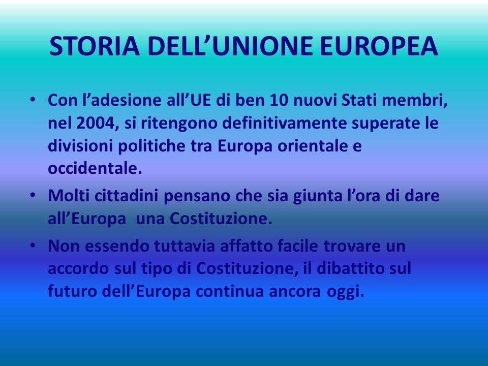 STORIA DELLUNIONE EUROPEA 2000 – 2007 UN DECENNIO DI ULTERIORE ESPANSIONE Nel 2000 lEURO è la nuova moneta di molti Europei. Dopo lattentato alle Torr