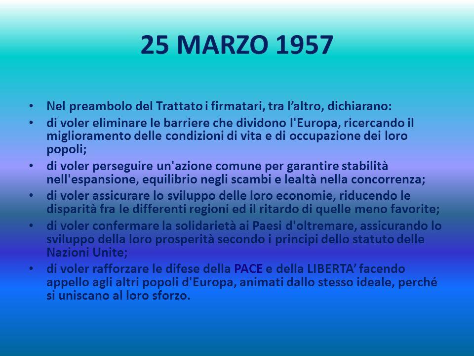 25 MARZO 1957 Il 25 Marzo 1957 a Roma si firma il Trattato che istituisce la Comunità Economica Europea (CEE), base dellattuale Unione Europea, che ra