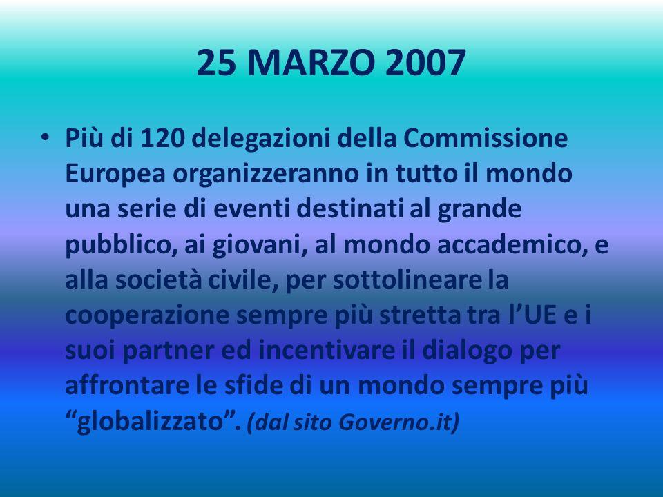 25 MARZO 2007 Più di 120 delegazioni della Commissione Europea organizzeranno in tutto il mondo una serie di eventi destinati al grande pubblico, ai giovani, al mondo accademico, e alla società civile, per sottolineare la cooperazione sempre più stretta tra lUE e i suoi partner ed incentivare il dialogo per affrontare le sfide di un mondo sempre più globalizzato.